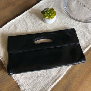 Hobo black patent clutch